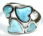 Rare AAA Genuine Larimar Inlay Solid 925 Sterling Silver Heart Ring Size 9