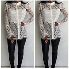 Sexy Casual Party Spring Lace Patchwork Women Long Sleeve Hollow Out Tees Shirt