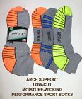 6 Pairs Mens US Made Top Flite Cushioned Moisture Wicking Low Cut Sport Socks