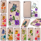 Real Dried Butterfly Pressed Flowers Cute Clear Soft TPU Case Cover For iphone