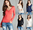 HENLEY Placket Long Sleeve Rayon Active Basic T Shirt Size S,M,L USA Free Ship