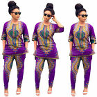 Women Tops Pants Dashiki Print Shirt Trousers Vintage African Club Party Hippie