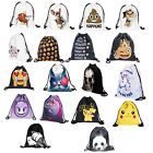 Hot Women Men Cute 3D Pattern Travel Backpack Softback Harajuku Bag Rope Bookbag