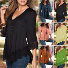 New Womens Ladies Loose Casual T Shirt Long Sleeve Lace Tops Shirt Blouse S-4XL