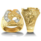 9ct Gold CZ Horse Head Horseshoe Ring