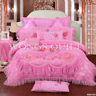 Embroidered Doona Quilt Pillowcases Set Queen King Size Bed Cotton New Comforter