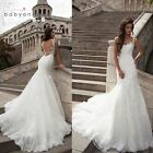 Mermaid White/Ivory Wedding Dress Bridal Gown Custom size 6 8 10 12 14 16 18++