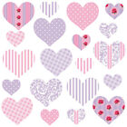Childrens Pink Love Heart Wall Stickers PurpleHearts&Roses Hart.11.M