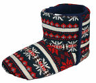 Men's Dunlop Navy Fairisle Pattern Boot Slippers Sizes 6-11