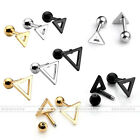 16G Silver Gold Black Steel Triangle Cartilage Tragus Ear Stud Piercing Earrings