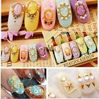 3D Nail Art Stud Rhinestone Sticker Gold Patch Hollow metal frame Decoration TX