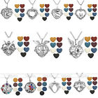 7 Colors Lava Rock Gemstone Silver Hollow Locket Openable Pendant Necklace Set