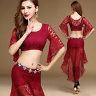 Womens Lace Oriental Belly Dance Costumes Set Dancewear Cropped Tops Long Skirts