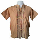 Mens Mandarin Beige Shirt Embroider Short Sleeve Casual Cotton Hippie T-Shirt