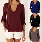 Women Lady Casual V-neck Long sleeve Chiffon Tee Shirt Loose Tops Blouse T-Shirt