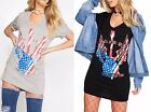 Womens Choker Neck Tops Rock Roll GUITAR Long TShirt USA Dress Slogan Sexy WINGS