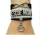 Infinity Love RESCUE MOM With PAW Print Charms Leather Bracelet-Black/Silver