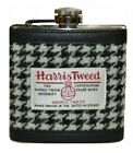 Harris Tweed and Leather Hip Flask With Funnel in Blue, Black, Brown Gift Boxed