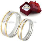 1pc Steel Womens Mens CZ Gem Couple Rings Wedding Band Engagement Promise Ring