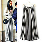 Womens Fashion Black+White Wide Leg Pants Casual Strips Pattern Suede Trousers