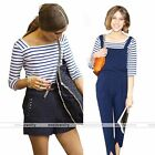 Women Lady Blue & White Stripe 3/4 Sleeve T-Shirt Summer Blouse Cotton Tee Tops