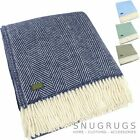 Luxury 100% Soft Wool Fishbone Design Blanket / Throw / Picnic Blanket
