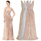 V NECK Long Sequins Pageant Evening Party Dress Formal Prom Bridesmaid Ball Gown