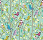 Edinburgh Weavers TWEETY BIRD Duckegg Cotton Fabric Curtain Upholstery Quilting