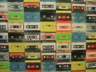 """Mini Prints"" 1980's Retro Cassette Tape Fabric Multi Use Curtain Blind Quilting"