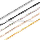 "2mm 316L Stainless Steel Anchor Rolo Link Cable Chain Necklace 24"" Mens Womens"