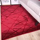 Wine Red Scarlet Geometric Triangles Lines Shape Modern Living Room Area Rug Mat