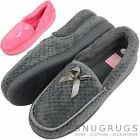 Ladies / Womens Super Soft Slip On Slippers with Bow Design