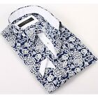 Coogi Luxe 100% Cotton Men's Catalina Blue/White Flowers Patterned Dress Shirt