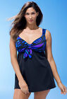 LONGITUDE® Plus Size 18-24 Fantasy Tie Front Swimdress NWT