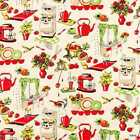 Retro 50s Kitchen Michael Miller Fifties Kitchen Appliances Cream Fabric t4/11