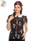 HELL BUNNY DRINK ME alice in wonderland RABBIT CHIFFON BLOUSE shirt TOP BLACK