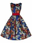 RETRO VINTAGE 50's BLUE RED FLORAL ROCKABILLY SWING PARTY PROM  DRESS NEW 8 - 18