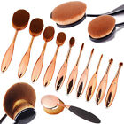 Deluxe 10Pcs Toothbrush Style Make up Brushes Oval/Linear Brush Set Rose Gold F1