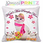 PERSONALISED CAT KITTEN CUSHION COVER GIFT MOTHERS DAY BIRTHDAY CHRISTMAS UNIQUE