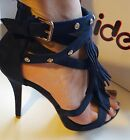 Blue Faux Suede Diamante Strappy Slim Heel Sandal Sizes UK 3 4 5 6 7 8 / EU 36-