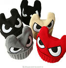Big Eyes Caps for Kids Cartoon OX Horn Winter Hats for Boys Warm Knitted Caps