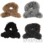 LADIES REAL MONGOLIAN SHEEPSKIN SCARF BOA LONG CURLY WOOL BROWN BLACK GREY