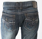 Xtreme Couture AFFLICTION Men Denim Jeans TREVOR Fleur DARK BLUE Embroidered $79