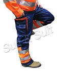 Hymac Orange Navy Hi Vis Work Wear Trousers High Viz Pants Heavy Duty (HYM466)