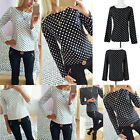 Elegant Long Sleeve Dot Polka Shirts Women Slim Fit Chiffon Blouse Casual Tops