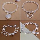 Women 925 Sterling Silver Solid Multi-Shaped Charm Chain Bracelet Bangle Jewelry