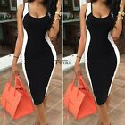 WOMEN SUMMER BODYCON SLIM CONTRAST OPTICAL ILLUSION PARTY COCKTAIL PENCIL DRESS