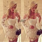 Womens Long Sleeve Short Lace Dress Cocktail Party Clubwear Evening Mini TXCL