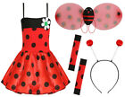 GIRLS LADYBIRD COSTUME INSECT CHARACTER SCHOOL BOOK WEEK FANCY DRESS LADYBUG