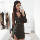 2 Colors Women Long Sleeve Casual Cocktail Evening Party Bodycon Mini Dress K